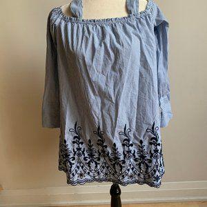 Zara BNWT blue white stripes top sz M embroidery